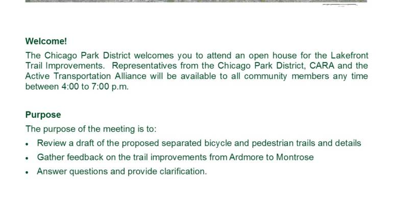 Lakefront Trail Separation Plan Meeting